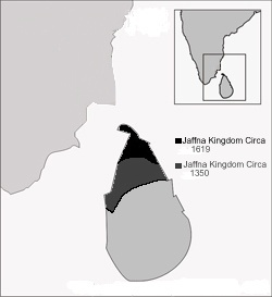 Jaffna kingdom at its greatest extent c. 1350.