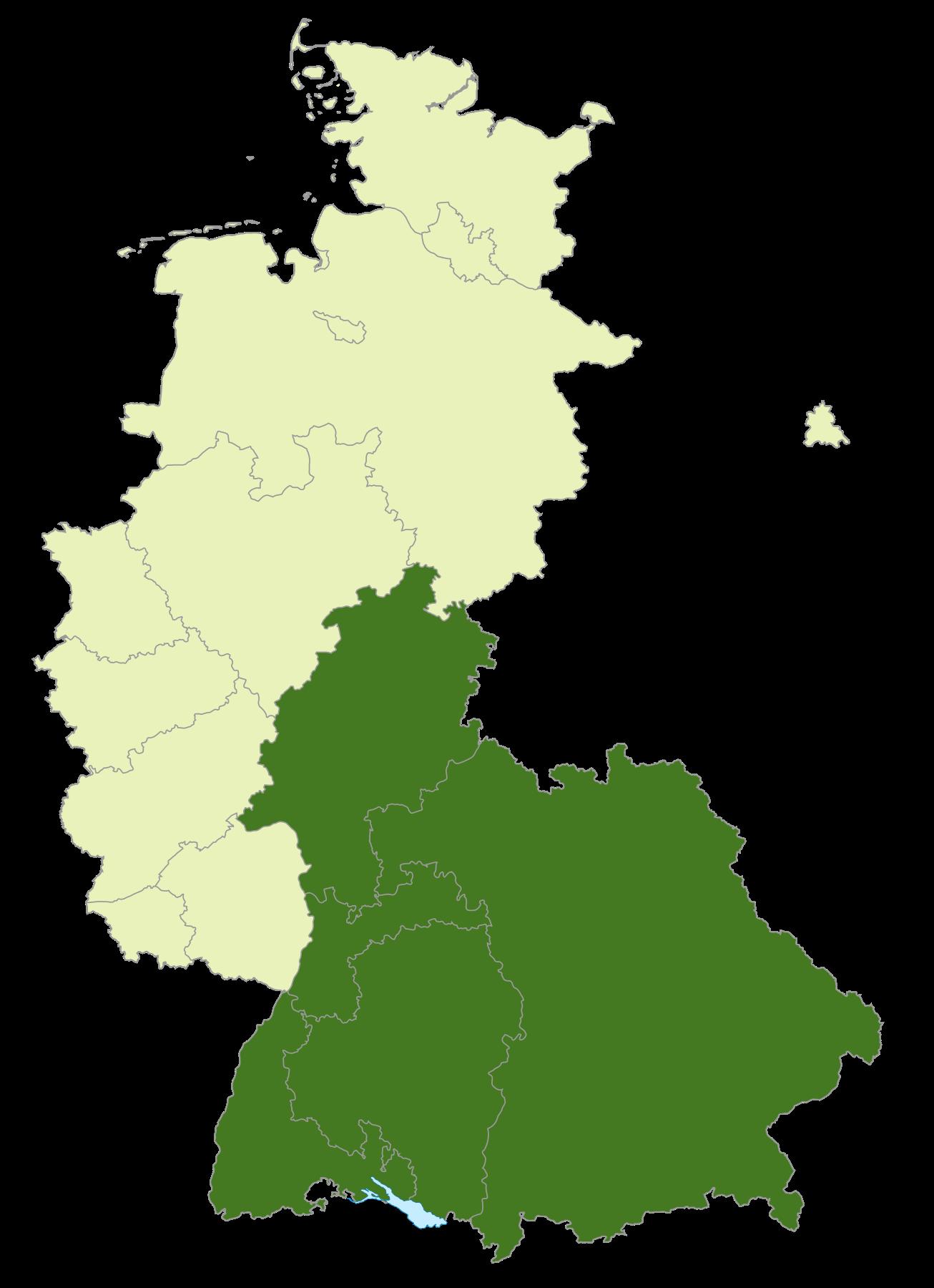 Gebiet der Oberliga Süd