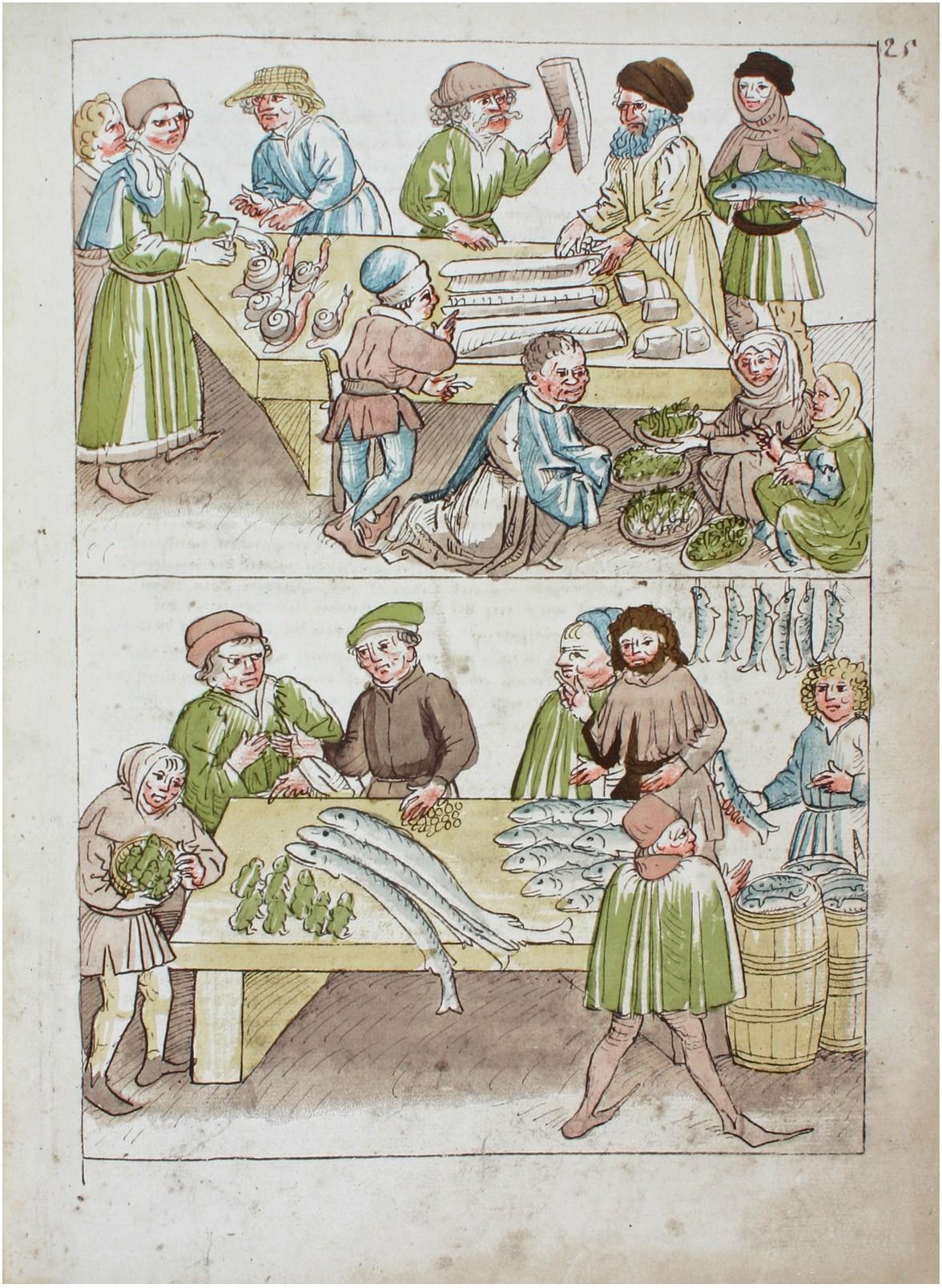 Verkauf von Fischen, Schnecken und Fröschen. Ulrich Richental: Chronik des Konzils von Konstanz (ca. 1464). Konstanz, Rosgartenmuseum, Hs. 1, fol 25r.