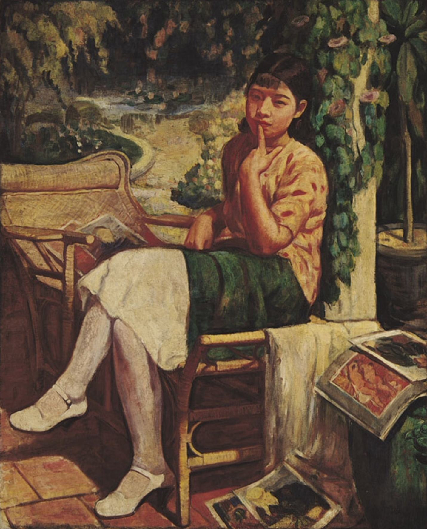 File:Lady Resting In The Garden ,by Li Mei-Shu.png - Wikimedia Commons