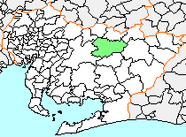 Location of Asuke in Aichi Prefecture