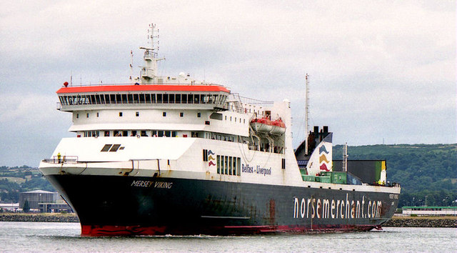 The first Mersey Viking pictured in 2003. One of the lead vessels (the other being Lagan Viking) in the Visentini ro-pax series. The current Belfast-Liverpool vessels are an enlarged and improved version of this design.