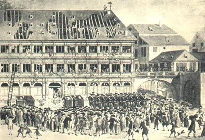 Gravure représentant la mise à sac de l'hôtel de ville de Strasbourg le 19 juillet 1789