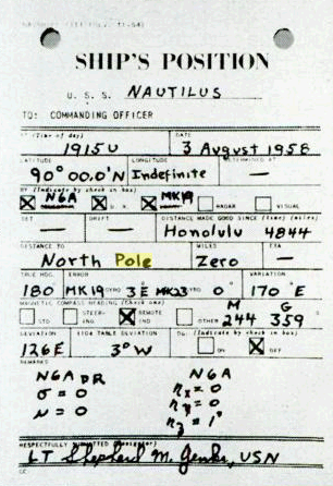 Navigator's report: Nautilus, 90degN, 19:15U, 3 August 1958, zero to North Pole. Nautilus 90N Record.png