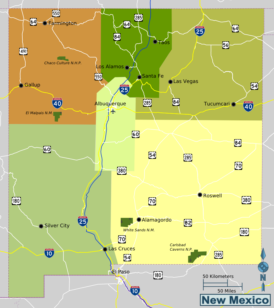 New Mexico Travel Guide At Wikivoyage - New mexico map with cities