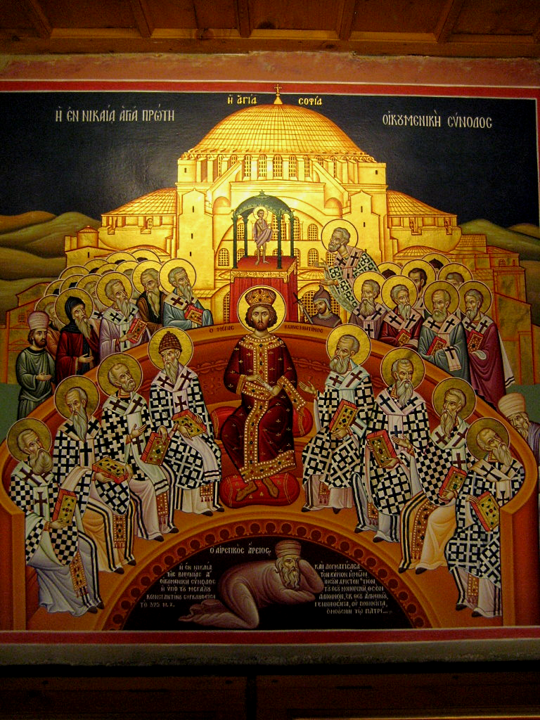 Icon from the Mégalo Metéoron Monastery in Greece, representing the First Ecumenical Council of Nikea 325 A.D., with the condemned Arius in the bottom of the icon.