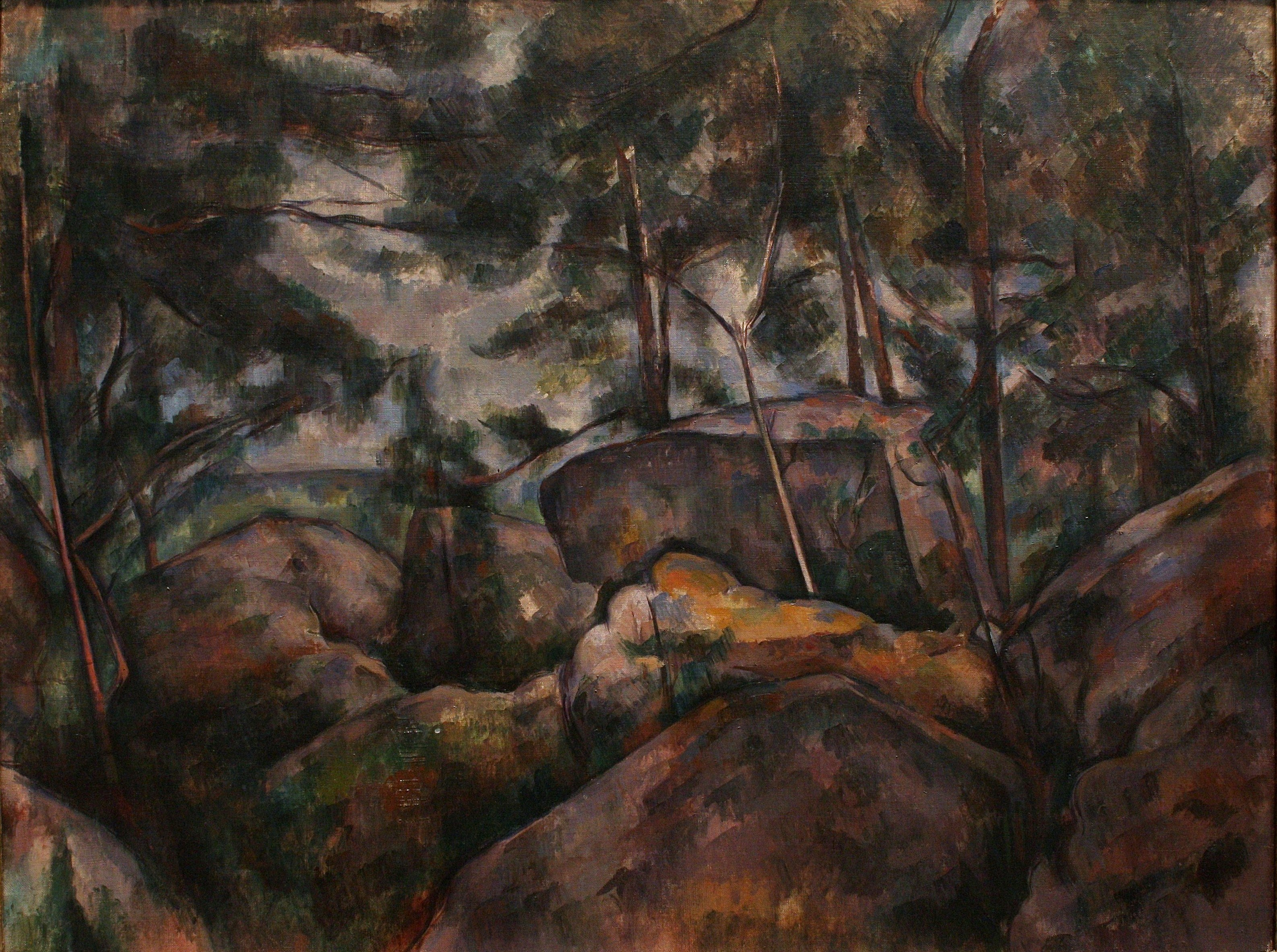 paul cezanne pines and rocks Chateau noir, 1904 by paul cezanne, final period trees and rocks in the park of the château is half-hidden behind pines that, like the rocks of bibémus.