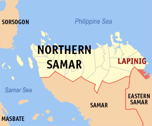 Map of Northern Samar showing the location of Lapinig