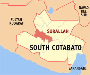 Map of South Cotabato showing the location of Surallah