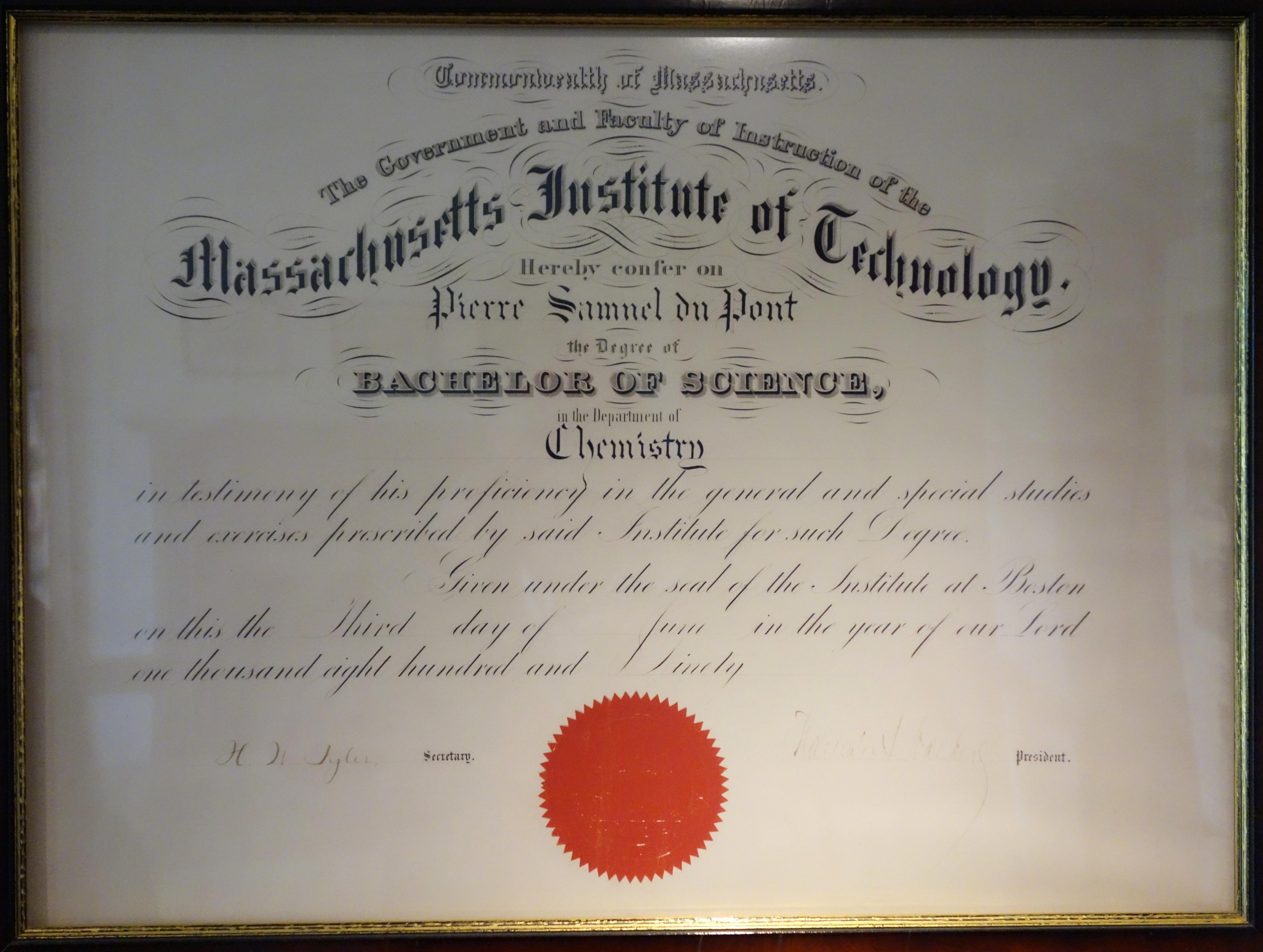 File:Pierre Samuel du Pont MIT Bachelor of Science degree in
