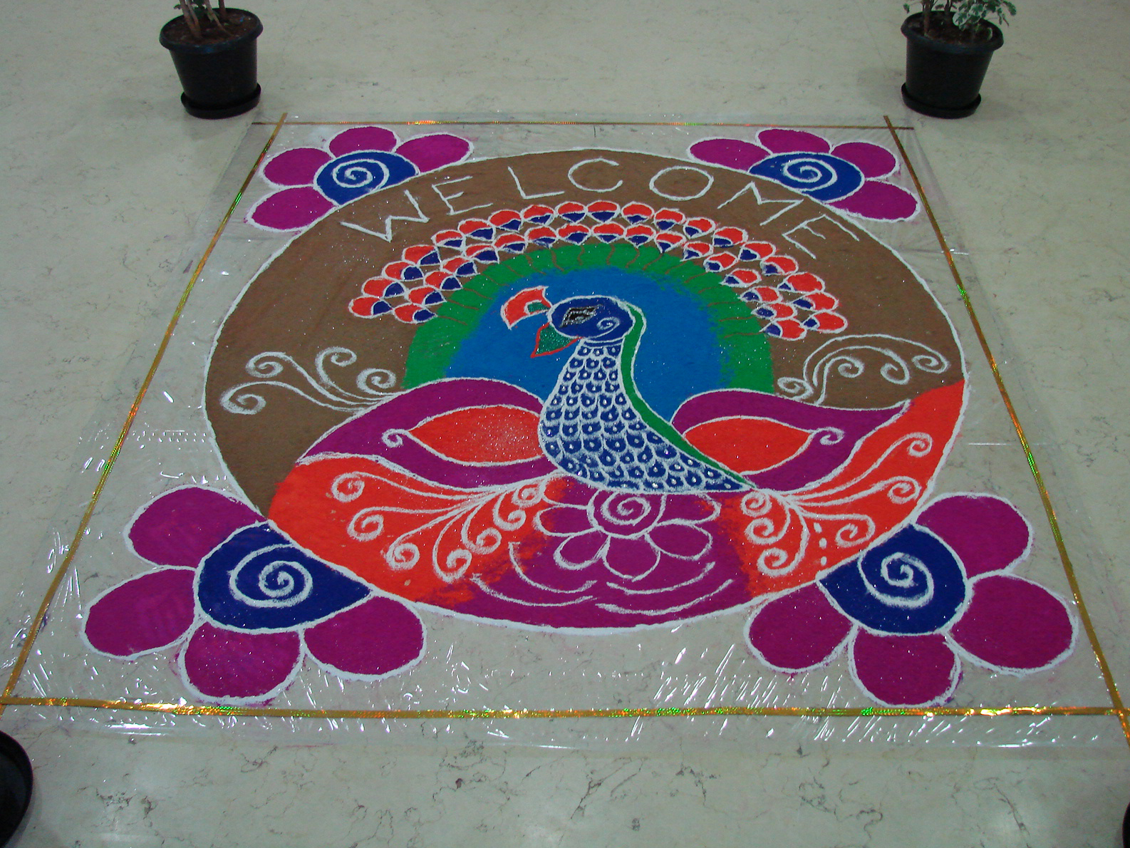 Rangoli Designs For Competition With Concepts A rangoli with mixed colors at