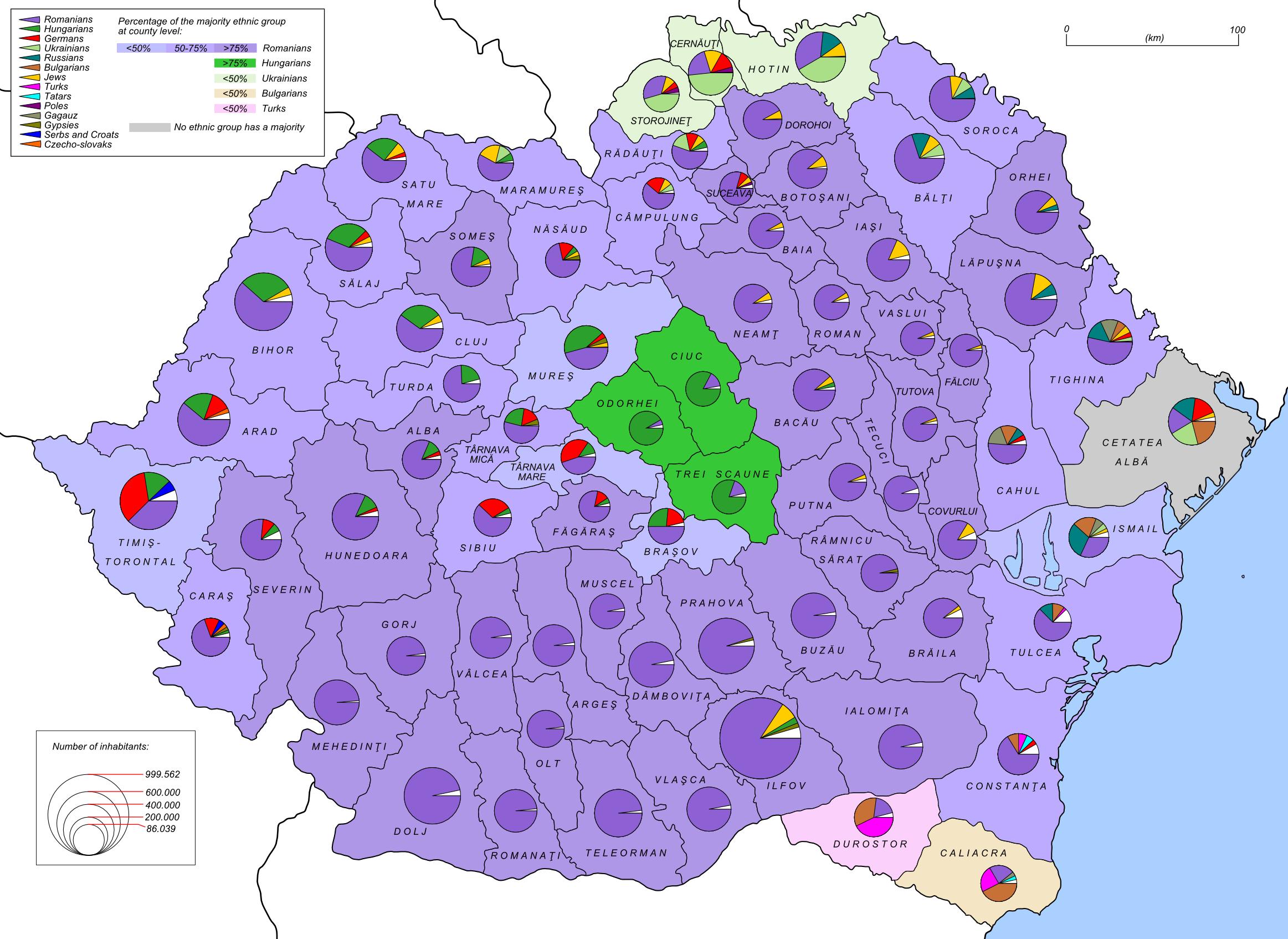 Description Romania 1930 ethnic map EN.png