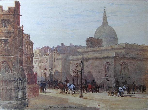 Street Scene in London with Saint Paul's Dome. by Samuel John Hodson (1836-1908)