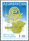 Azerbaijani stamp celebrating the 10th ECO summit in Azerbaijan.