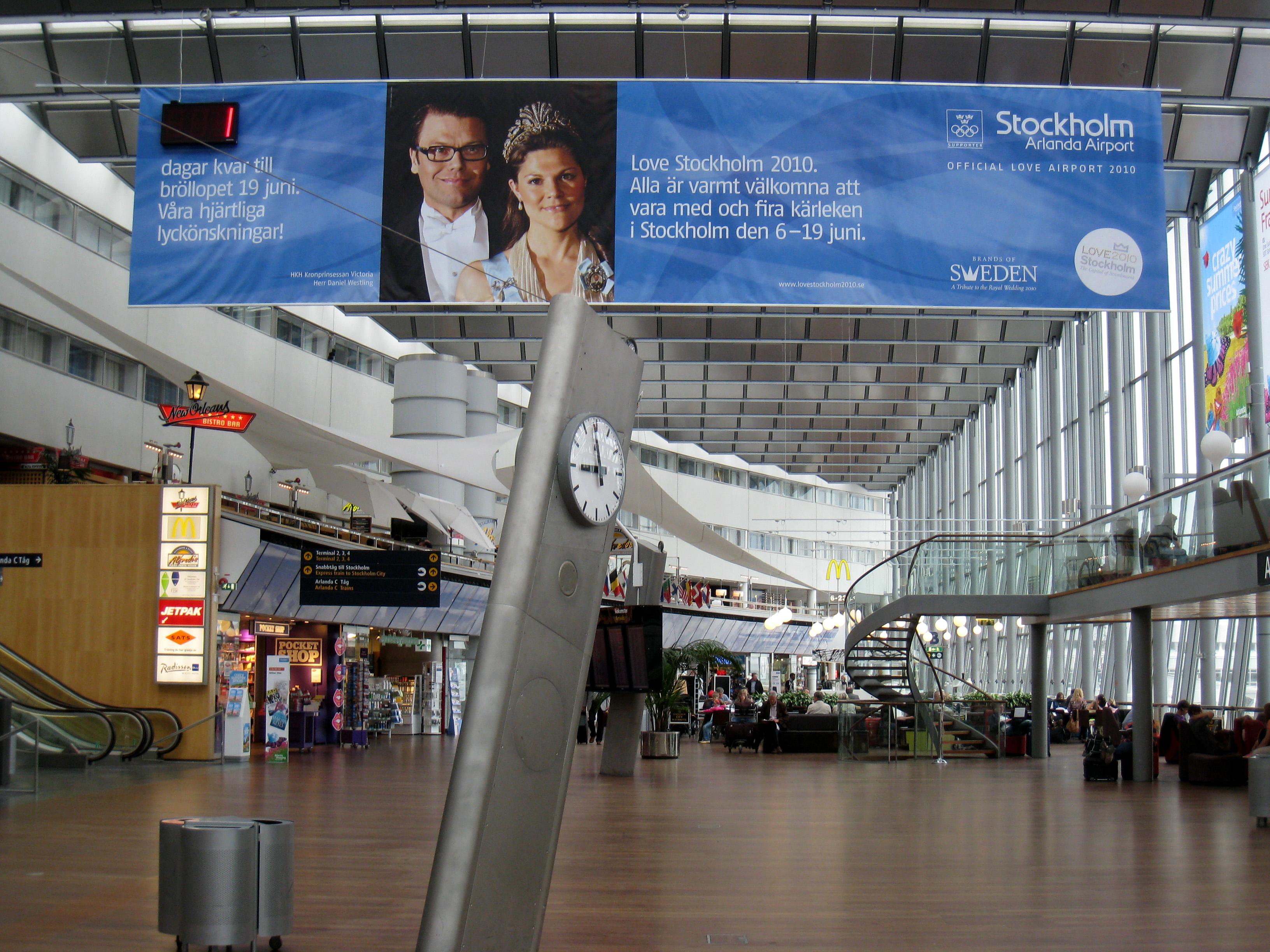 Stockholm Arlanda Airport Banner 18 June 2010 - Royal Wedding Date