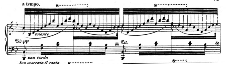 "Excerpt from Thalberg's Moise fantasy illustrating the ""three-hand"" effect, and indicating use of piano pedals. ThalbergMoise.jpg"