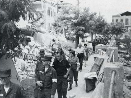 American soldiers in Skopje after the 1963 earthquake. US army in Skopje 1963.jpg