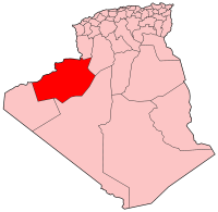 Map of Algeria showing Bechar province