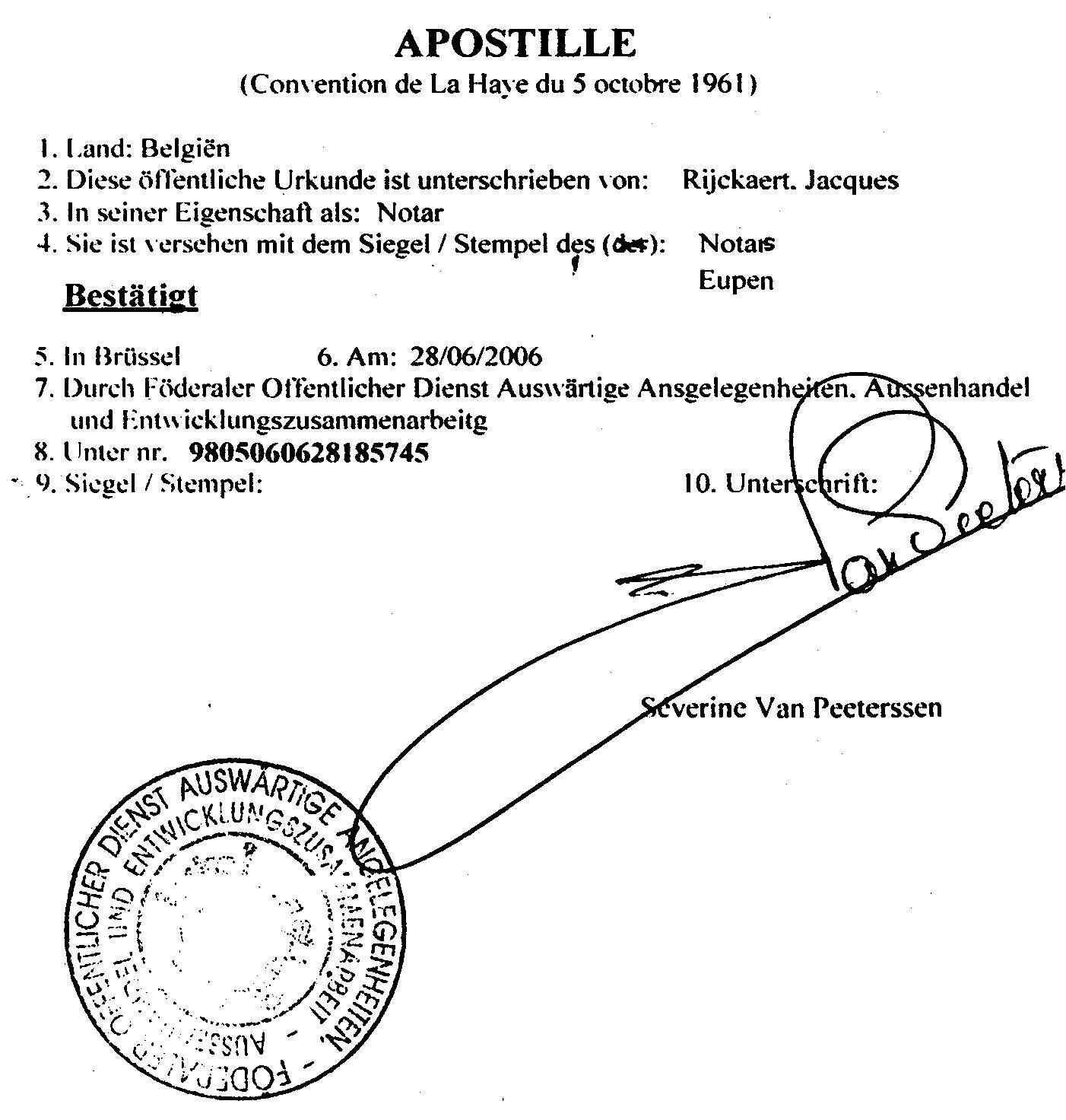 apostille - d u00e9finition