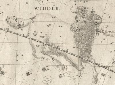 An image of Aries as an astrological drawing.