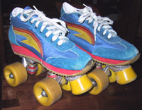 Blue disco quad roller skates