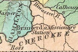 Map of a part of Cherokee territory in 1827