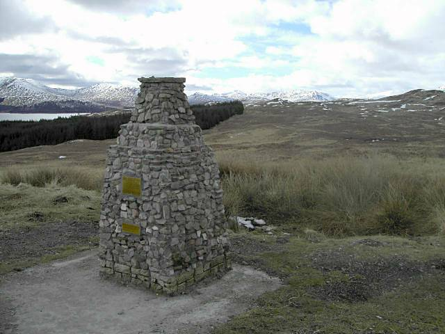 Cairn overlooking Loch Tulla and Glen Orchy hills - geograph.org.uk - 143702