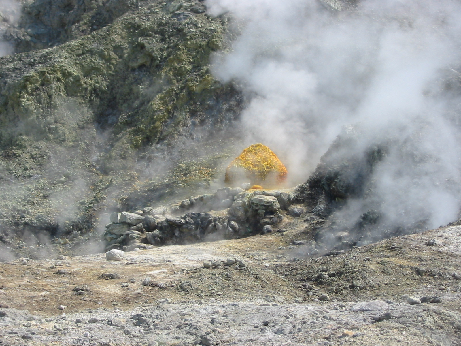 Volcanic sulfur and steam pool