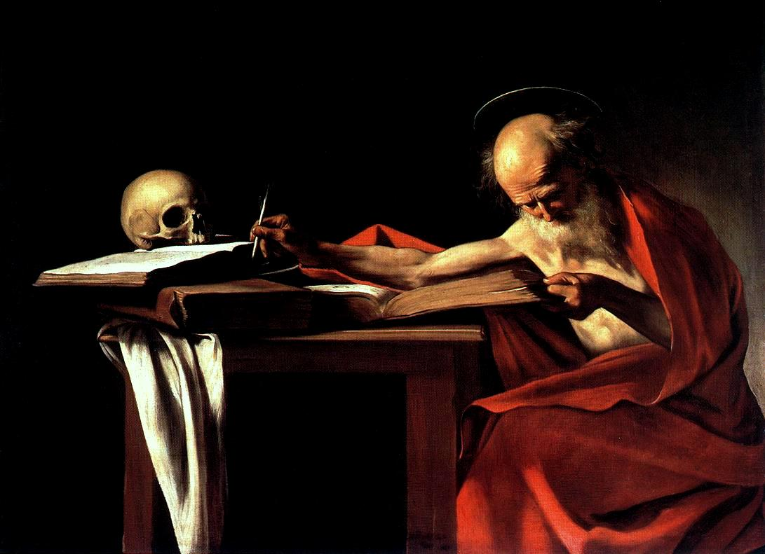 Caravagio's St. Jerome, a painting of a gaunt, elderly, bald white man draped in a red cltoh studying from a large book, with other books and a skull on an adjacent table,, on a black background.