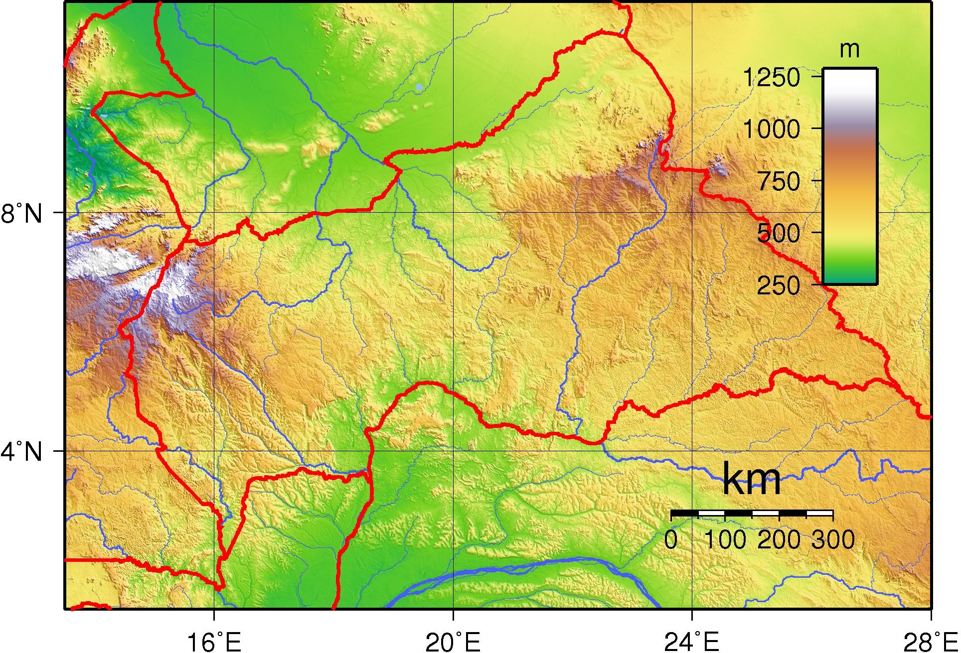 Vaizdas Central African Republic Topography Png Vikipedija