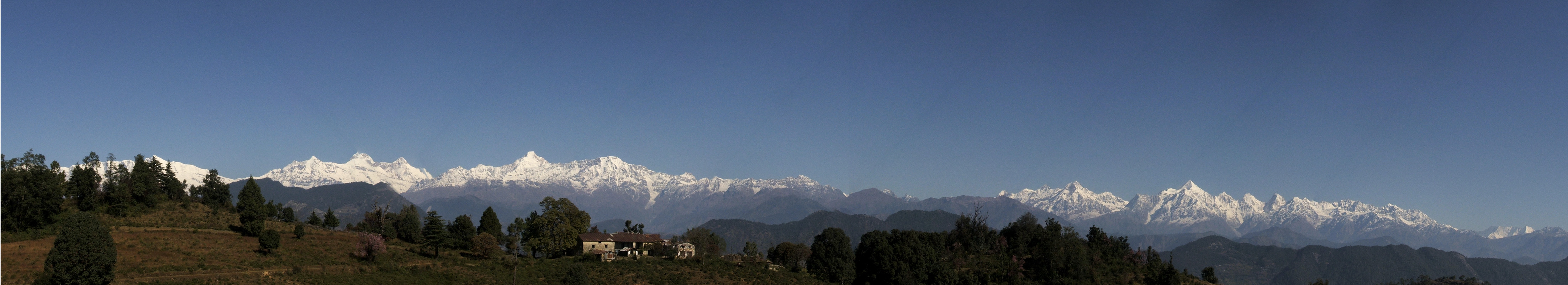 Panoramic view of the Himalayas, from Chaukori