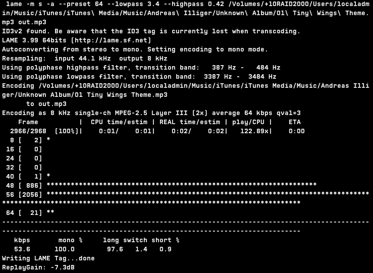 File:Commandline Output of LAME command, on Mac OS X 10 7 2 png