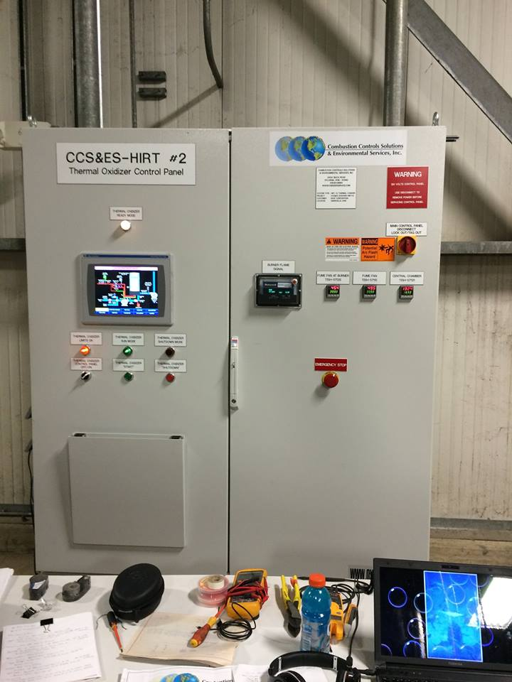 Control panel with an Allen-Bradley PLC user interface for thermal oxidizer regulation.