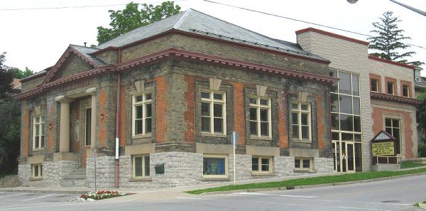 Paris Branch of the County of Brant Public Library in Ontario. Note the attention to detail in the brickwork on the back addition; Obtained from Wikimedia Commons under the Creative Commons Attribution-Share Alike 3.0 Unported license.