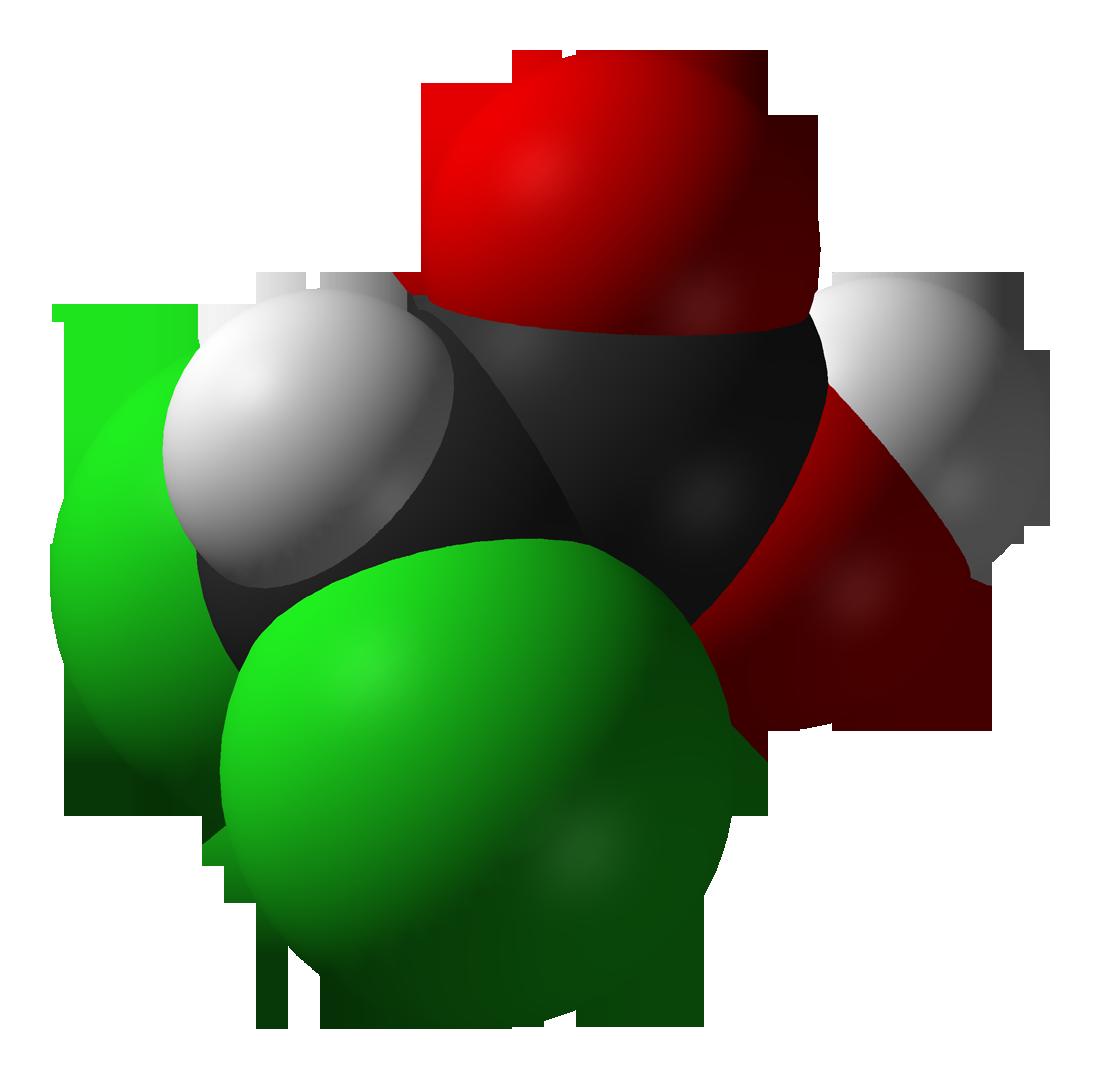 molécula de ácido de dicloroacetato en 3D