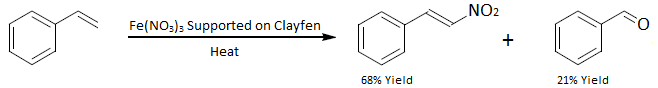 Direct nitration of styrene using FeNO3 on a Clayfen support.png
