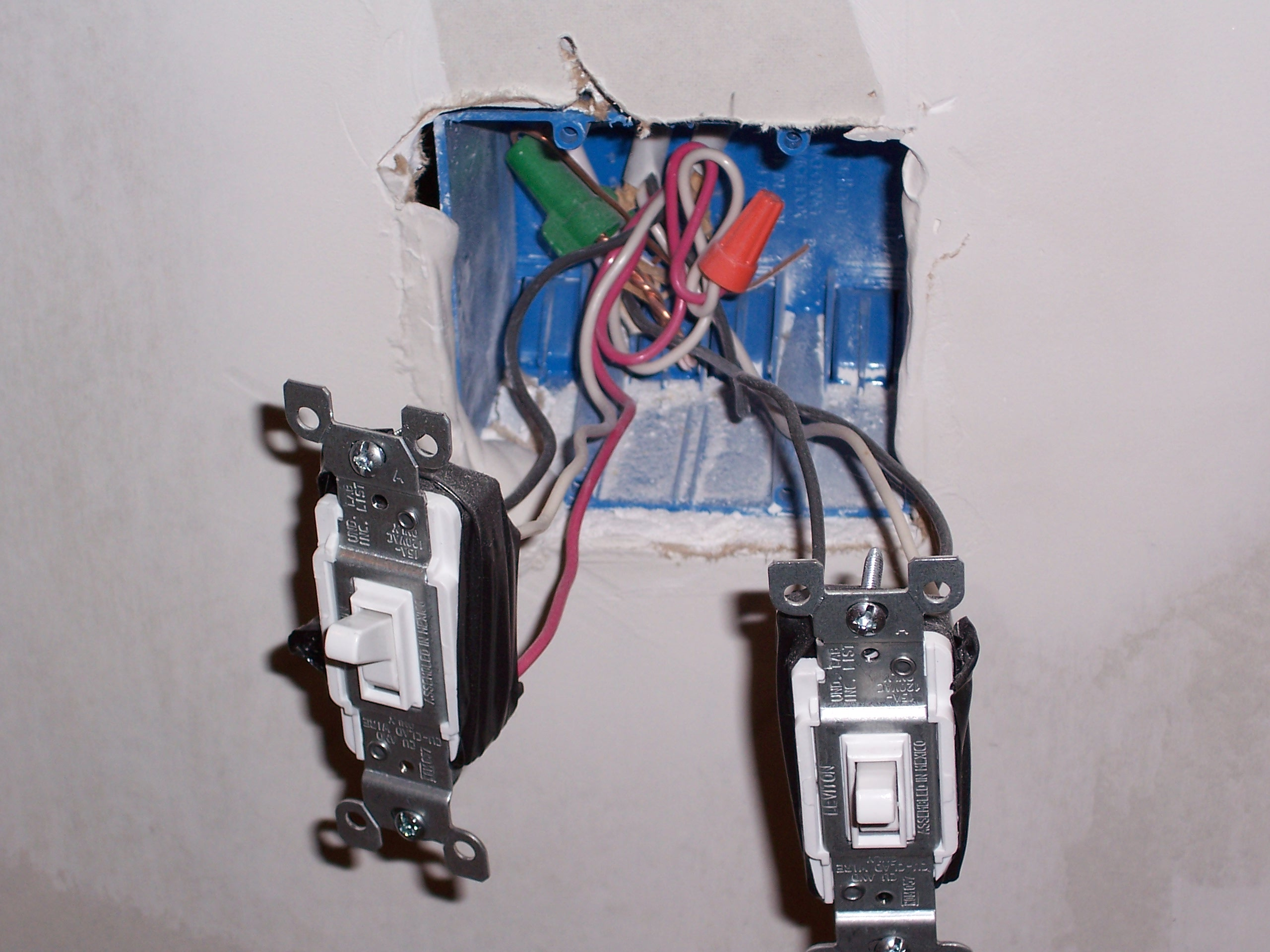 File dual light switches with exposed wiring on leviton double switch wiring diagram
