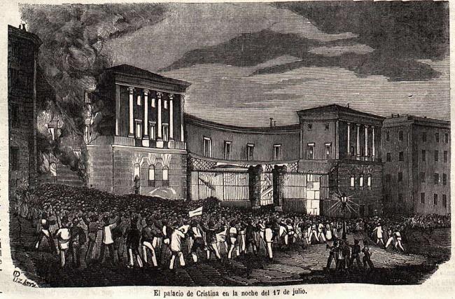 Grabado del palacio de Doña María Cristina de Borbón, 17 de julio de 1854, obra de Pizarro