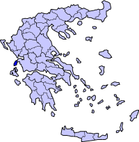 Location of Lefkada Prefecture in Greece