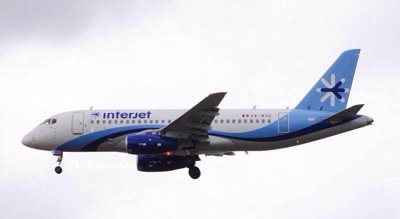 Interjet Sukhoi Superjet 100 landing at San Antonio International Airport