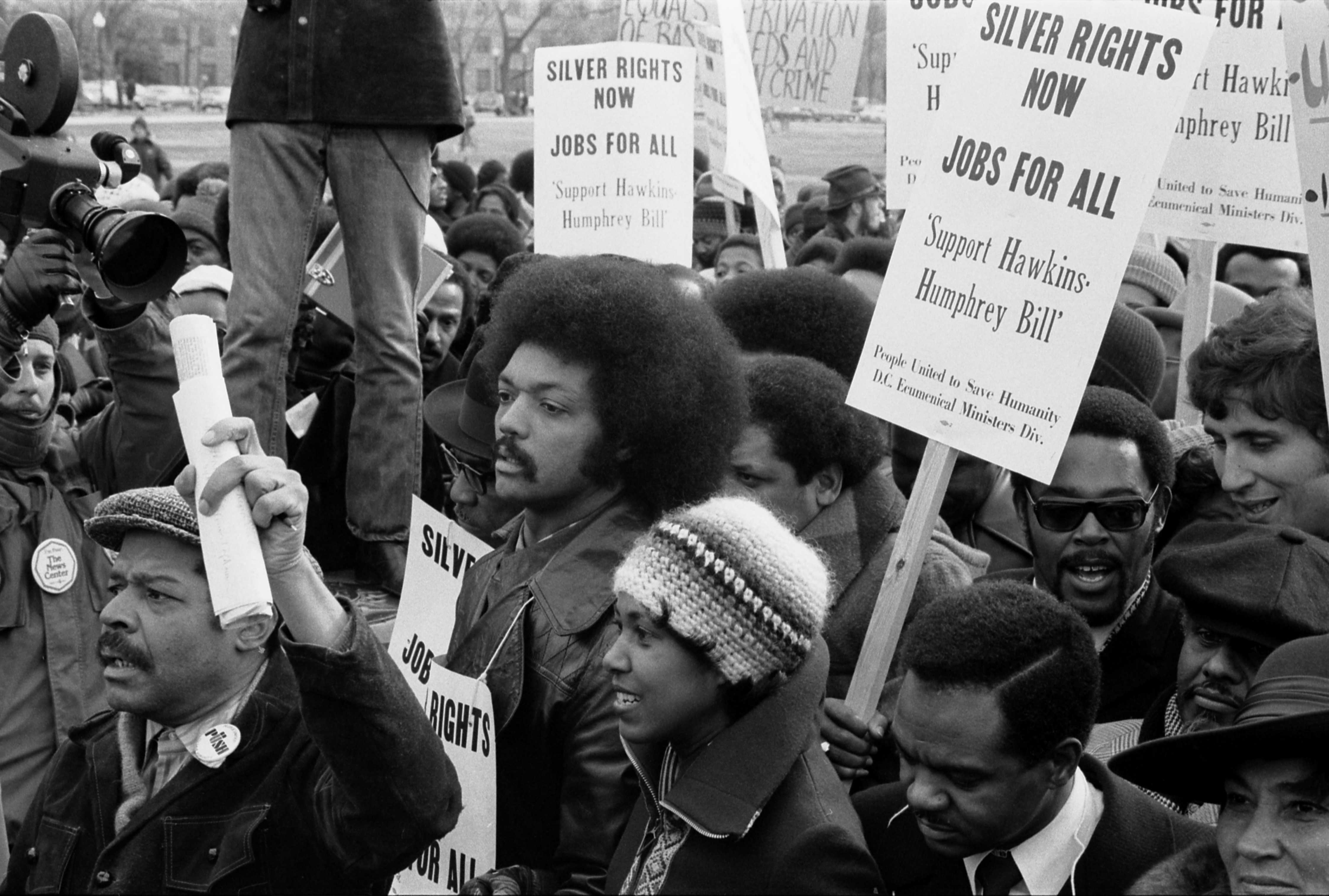 Description Jesse Jackson participating in a rally, January 15, 1975