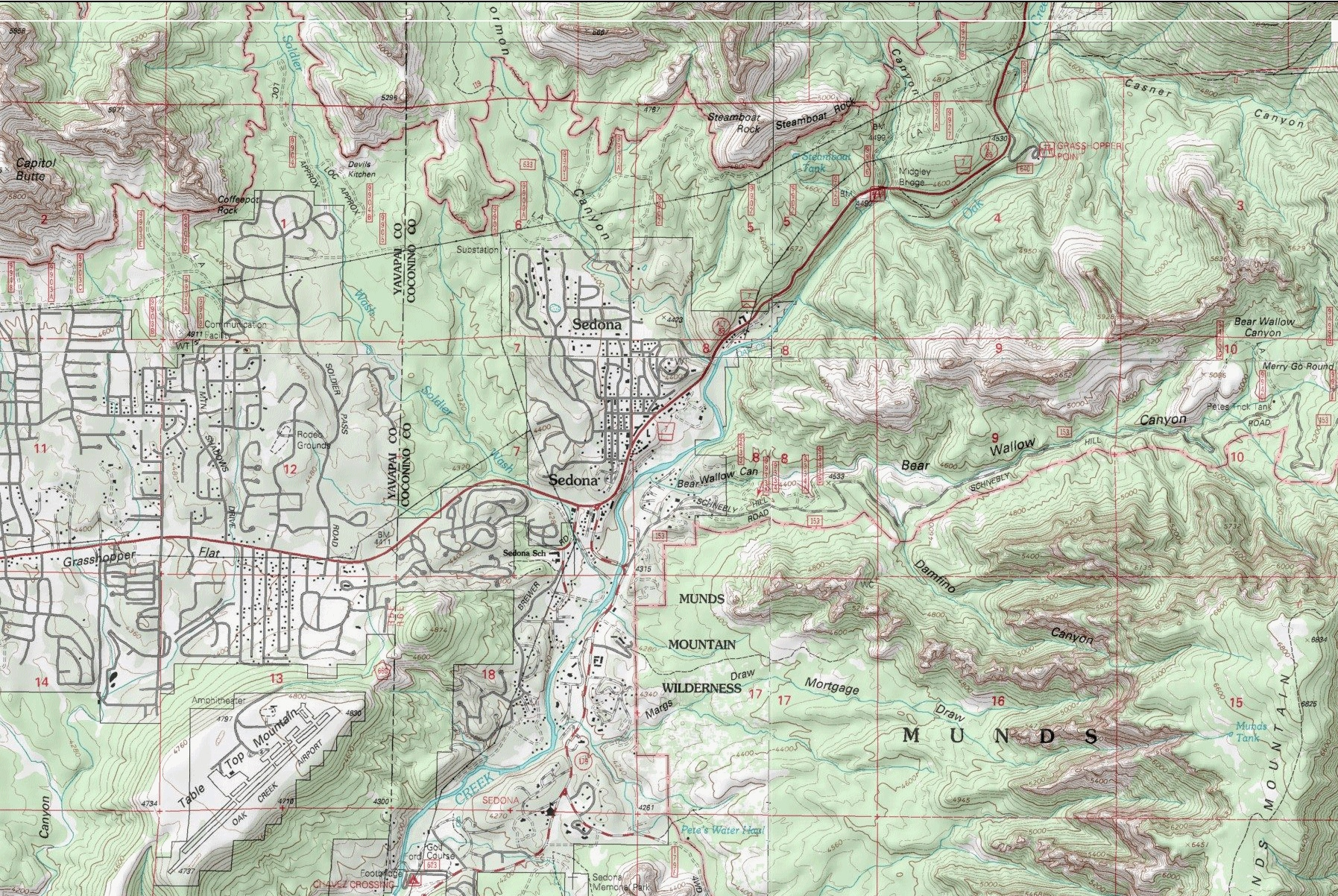 Topographic Map of Area - CLICK to go to interactive map to explore area