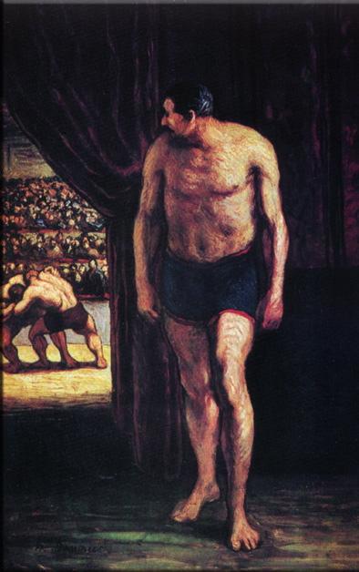Tableaux de peintres Lutteurs_de_cirque_-_Honore_Daumier