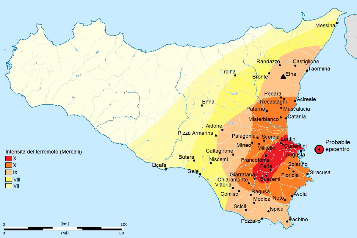 Cartina Geografica Sicilia Sud Orientale.Terremoto Del Val Di Noto Del 1693 Wikipedia