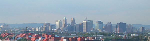 Skyline of downtown Newark, seen from the Newark Bay Bridge