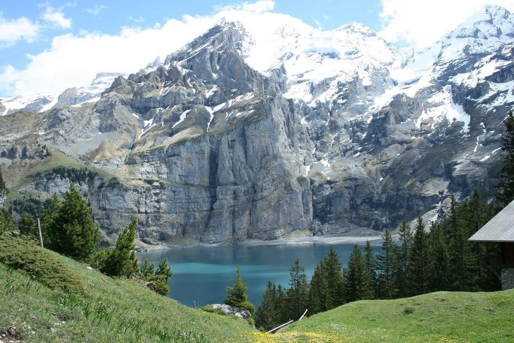Blüemlisalp and Oeschinen Lake, Bernese Alps in Switzerland