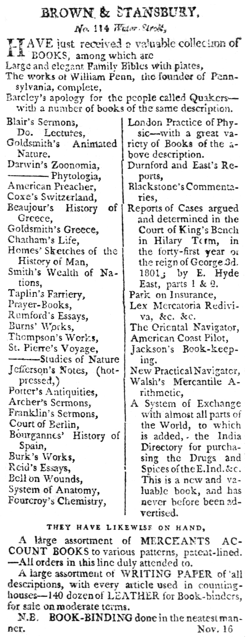 PSM V56 D0207 Bookseller advertisement from the new york evening post 1801.png