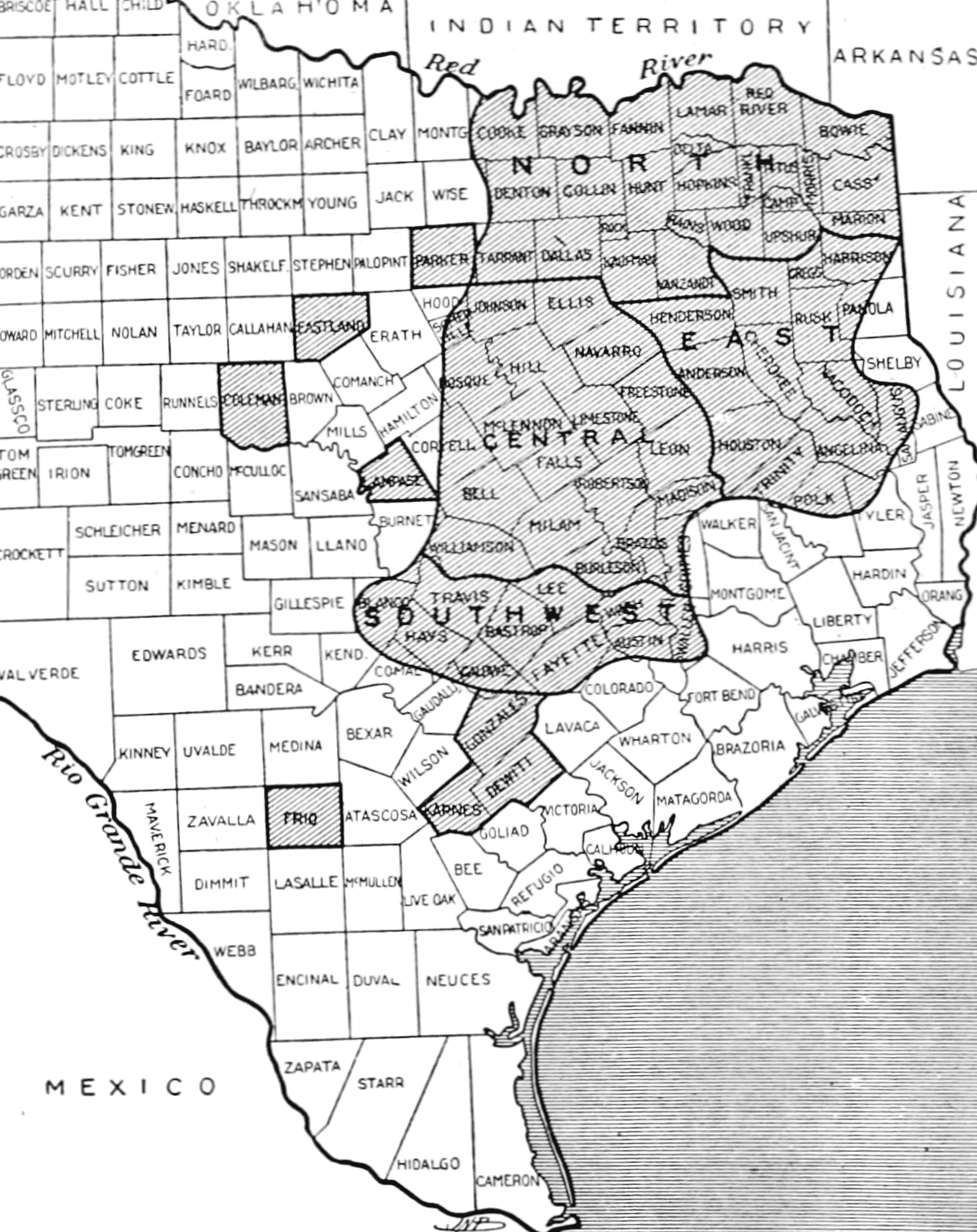 PSM V65 D194 Texas regions ravaged by the bollworm in 1903.png