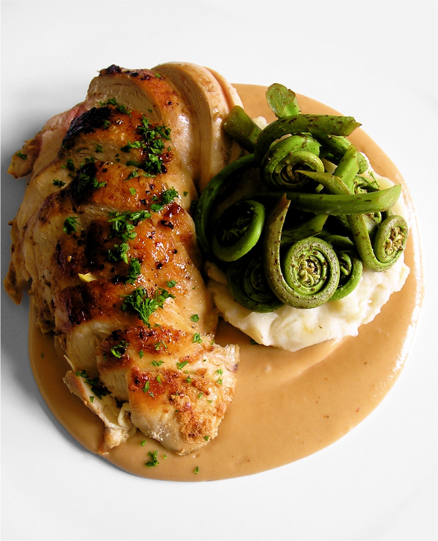 File:Pan Roasted Chicken Breasts, Garlic Mashed Potatoes, Fiddlehead ...
