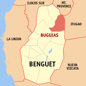 Map of Benguet showing the location of Buguias